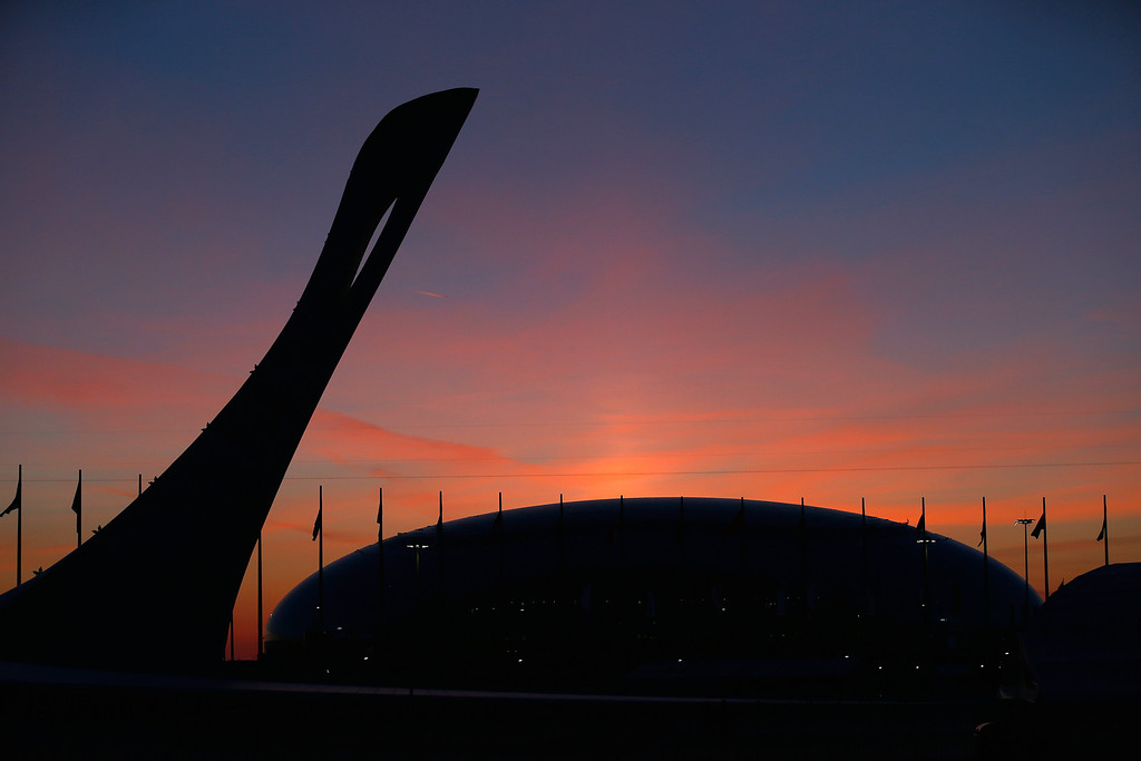 . The sun sets over the Olympic Park during the Opening Ceremony of the Sochi 2014 Winter Olympics at Fisht Olympic Stadium on February 7, 2014 in Sochi, Russia.  (Photo by Scott Halleran/Getty Images)