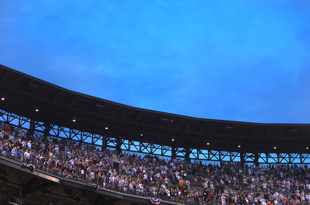 . DENVER, CO - JULY 4: The Rockies enjoyed only the third sold out crowd of the season Friday night. The Colorado Rockies hosted the Los Angeles Dodgers at Coors Field Friday night, July 4, 2014.  Photo by Karl Gehring/The Denver Post