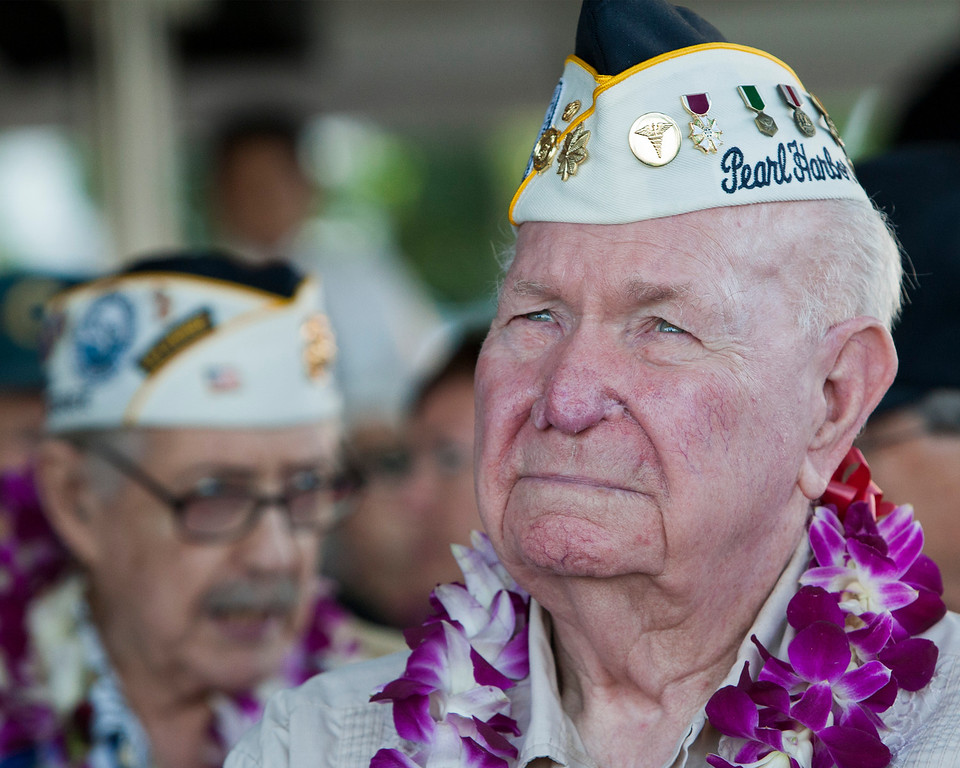 . Pearl Harbor survivor Alvis Taylor waits for the start of the ceremony commemorating the 72nd anniversary of the attack on Pearl Harbor in Honolulu on Saturday, Dec. 7, 2013. (AP Photo/Marco Garcia)