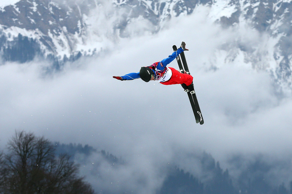 . Guangpu Qi of China practices prior to the Freestyle Skiing Men\'s Aerials Qualification on day ten of the 2014 Winter Olympics at Rosa Khutor Extreme Park on February 17, 2014 in Sochi, Russia.  (Photo by Cameron Spencer/Getty Images)