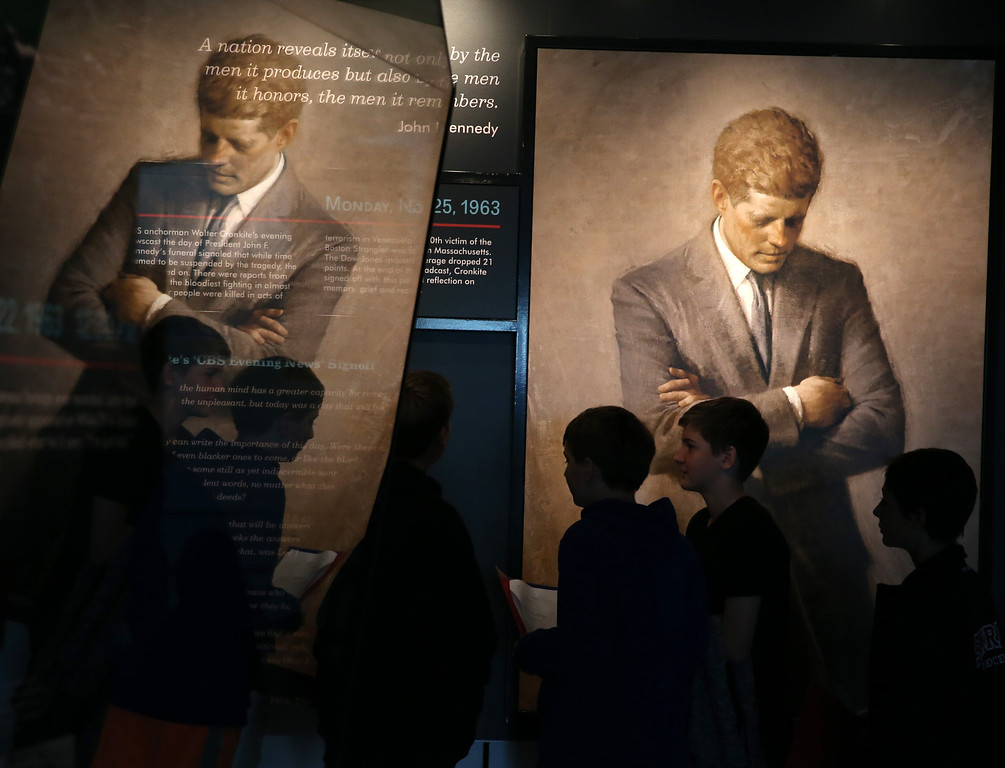 . People tour an exhibit at the Newseum dedicated to John F. Kennedy who was killed fifty years ago today, on November 22, 2013, in Washington, DC. Today is the 50th anniversary of President Kennedy\'s assassination during his visit to Dallas, Texas, in 1963.  (Photo by Mark Wilson/Getty Images)