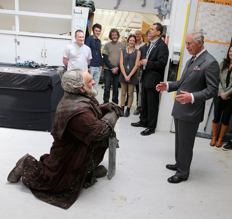 . Prince Charles, Prince of Wales meets Mark Hadlow who plays Dori in the new \'Hobbit\' film at Weta Workshop on November 14, 2012 in Wellington, New Zealand. The Royal couple are in New Zealand on the last leg of a Diamond Jubilee that takes in Papua New Guinea, Australia and New Zealand.  (Photo by Chris Jackson/Getty Images)