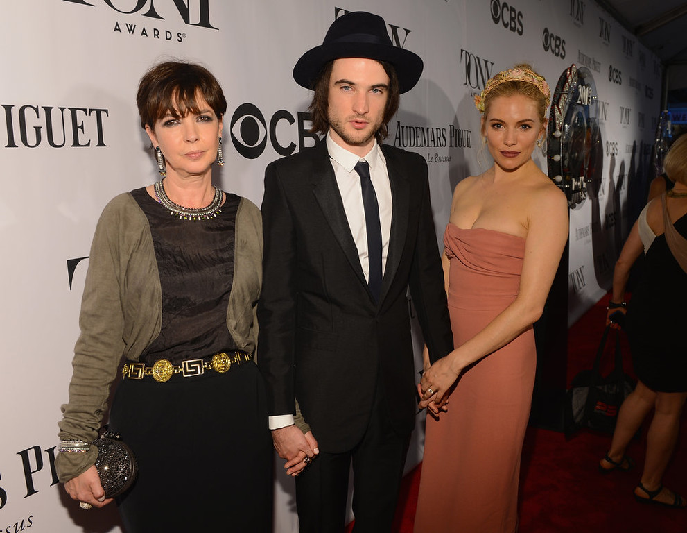 . (L-R) Phoebe Nicholls, Tom Sturridge and Sienna Miller attend The 67th Annual Tony Awards at Radio City Music Hall on June 9, 2013 in New York City.  (Photo by Larry Busacca/Getty Images for Tony Awards Productions)