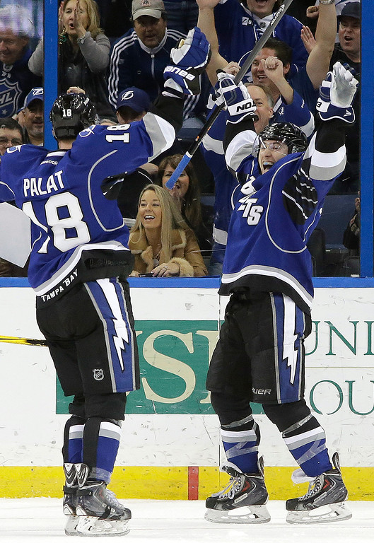 . Tampa Bay Lightning center Tyler Johnson (9) celebrates with teammate Ondrej Palat (18), of the Czech Republic, after scoring his third goal of the game against the Colorado Avalanche during the third period of an NHL hockey game Saturday, Jan. 25, 2014, in Tampa, Fla. (AP Photo/Chris O\'Meara)