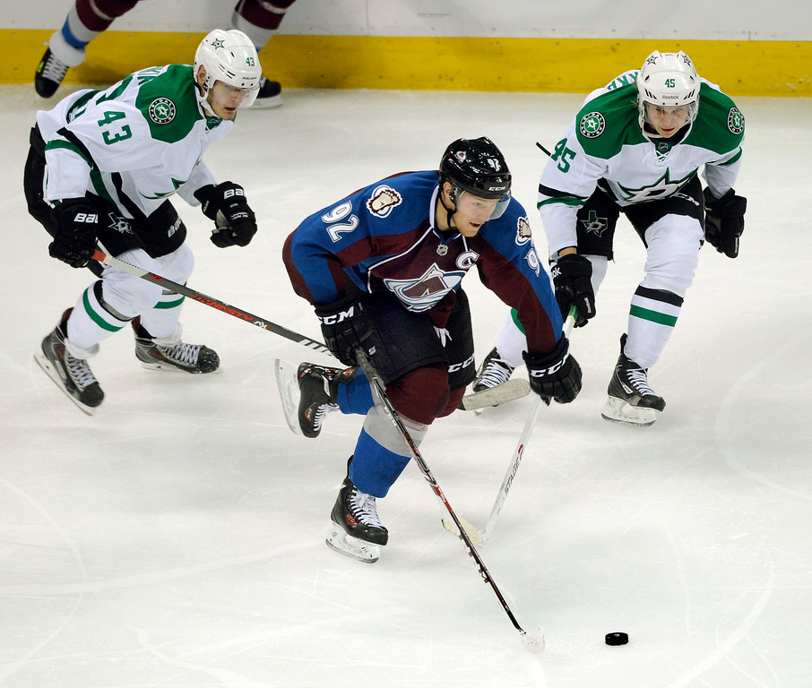 . Colorado wing Gabriel Landeskog (92) skated with the puck in the second period.   Photo By Karl Gehring/The Denver Post
