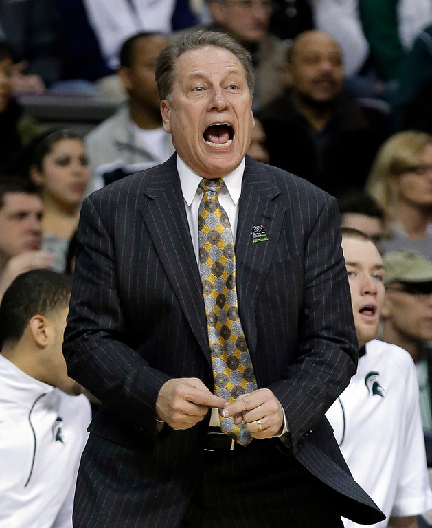 . Michigan State head coach Tom Izzo yells at his team during the second half of a second-round game of the NCAA college basketball tournament against the Valparaiso in Auburn Hills, Mich., Thursday March 21, 2013. Michigan State won 65-54. (AP Photo/Paul Sancya)