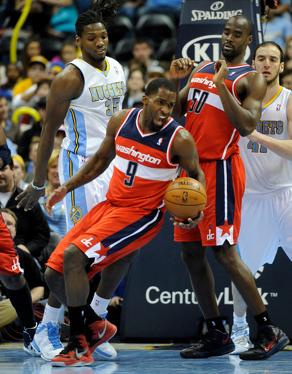 . DENVER, CO - JANUARY 18: Washington forward Martell Webster (9) secured a rebound in the second half. The Washington Wizards defeated the Denver Nuggets 112-108 at the Pepsi Center Friday night, January 18, 2013. Karl Gehring/The Denver Post