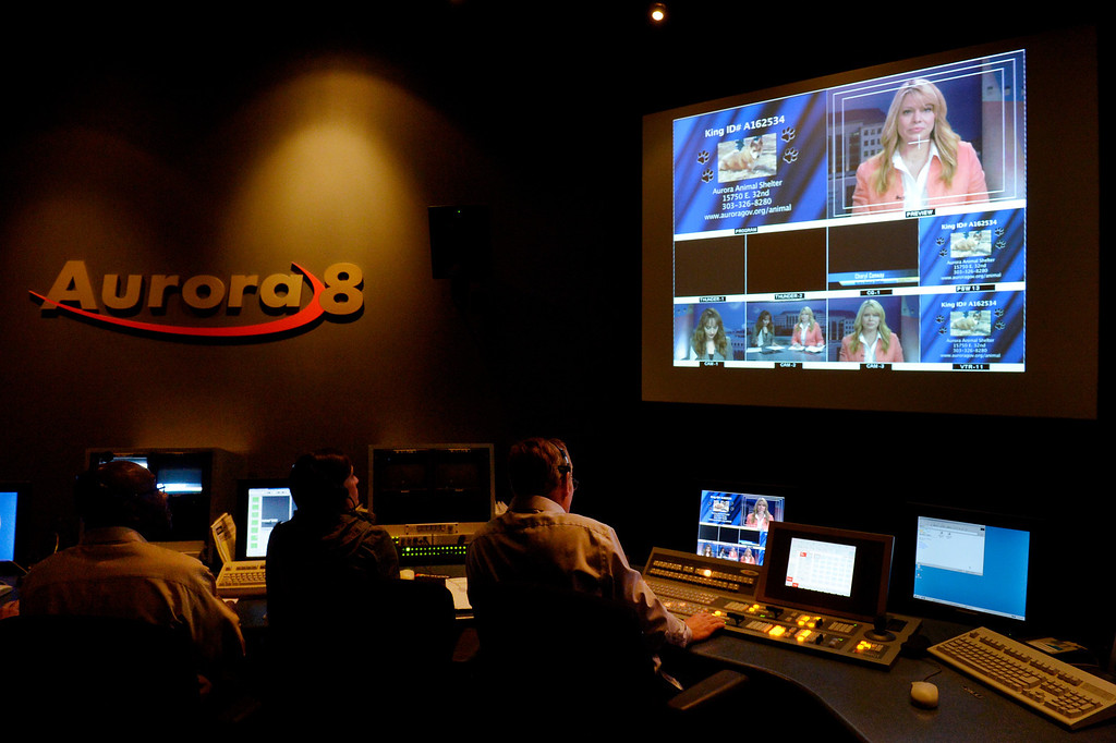 . AURORA, CO. - FEBRUARY 18: Staff members work in the control room during the taping of Aurora News Weekly in Aurora, CO February 18, 2014. The 30 minute news show is part of Aurora 8\'s public access programming. (Photo By Craig F. Walker / The Denver Post)