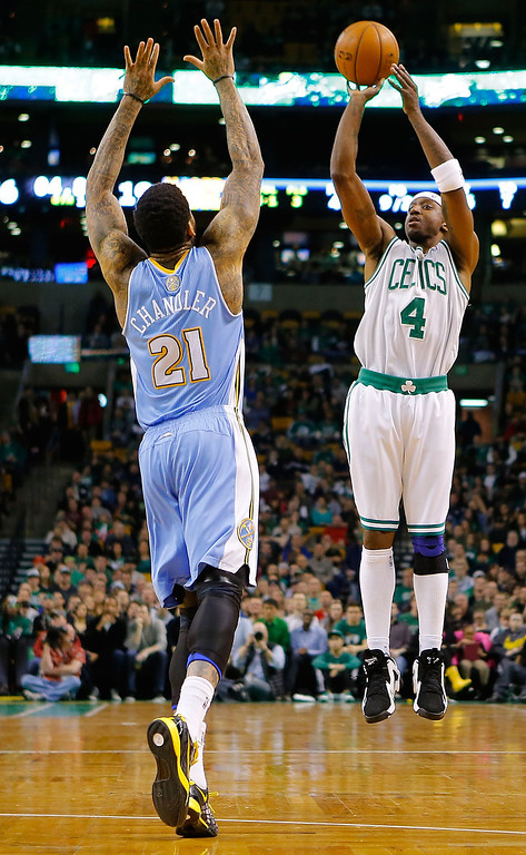 . BOSTON, MA - FEBRUARY 10: Jason Terry #4 of the Boston Celtics takes a shot in front of Wilson Chandler #21 of the Denver Nuggets during the game on February 10, 2013 at TD Garden in Boston, Massachusetts.  (Photo by Jared Wickerham/Getty Images)