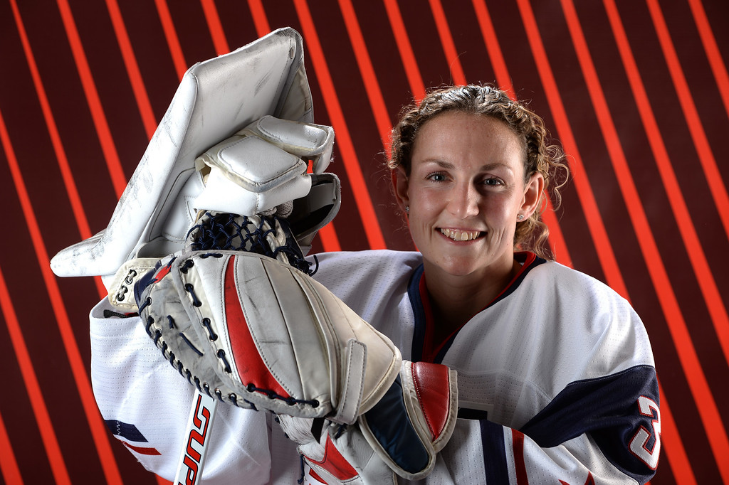 . Ice Hockey player Jessie Vetter poses for a portrait during the USOC Media Summit ahead of the Sochi 2014 Winter Olympics on October 2, 2013 in Park City, Utah.  (Photo by Harry How/Getty Images)