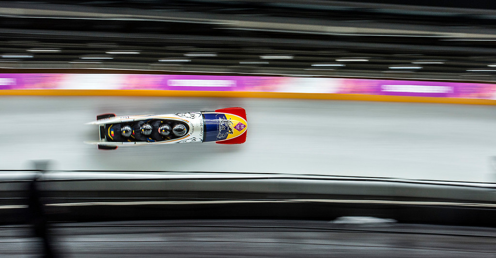 . KRASNAYA POLYANA, RUSSIA  - JANUARY 22: The team from Romania competes in the four-man bobsled at Sanki Sliding Center during the 2014 Sochi Olympics Saturday February 22, 2014. They are currently in 22nd place with a time of 1:52.41.  (Photo by Chris Detrick/The Salt Lake Tribune)