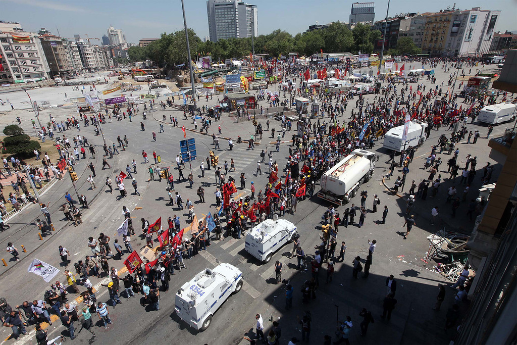 . A general view of Istanbul\'s Taksim square, the epicentre of nearly two weeks of anti-government demos, taken on June 11, 2013 as Turkish riot police clash with protestors.    AFP PHOTO / MIRAMIRA/AFP/Getty Images