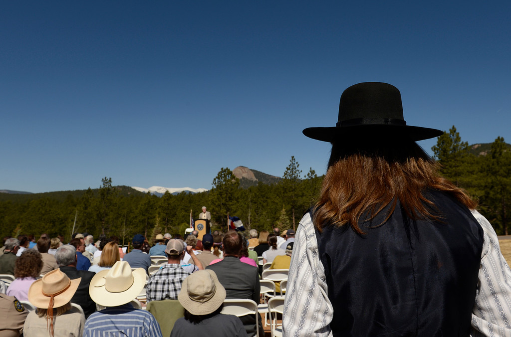 . CONIFER, CO-May 17, 2013: Rex Rideout,, right in full western wear, attends the dedication of Colorado\'s newest state park, Staunton State Park, May 17, 2013. It has been 27 years since Colorado got a new state park. The park, west of Conifer, will open to the public May 18. (Photo By RJ Sangosti/The Denver Post)