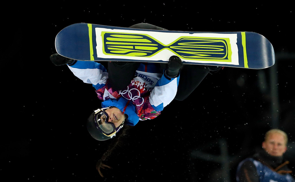 . France\'s Sophie Rodriguez competes during the women\'s snowboard halfpipe final at the Rosa Khutor Extreme Park, at the 2014 Winter Olympics, Wednesday, Feb. 12, 2014, in Krasnaya Polyana, Russia. (AP Photo/Felipe Dana)