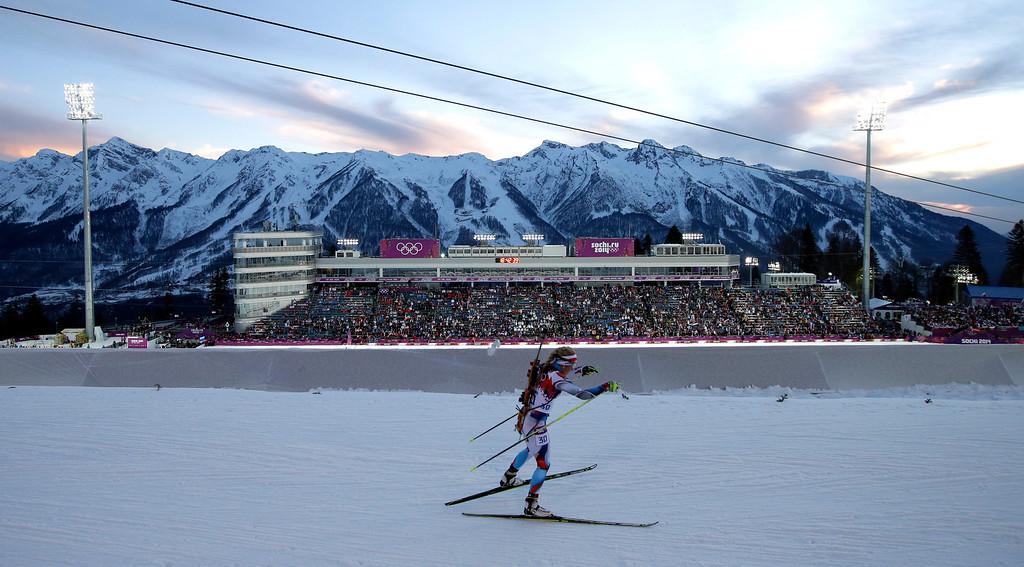 . Czech Republic\'s Gabriela Soukalova competes during the women\'s biathlon 15k individual race, at the 2014 Winter Olympics, Friday, Feb. 14, 2014, in Krasnaya Polyana, Russia. (AP Photo/Felipe Dana)