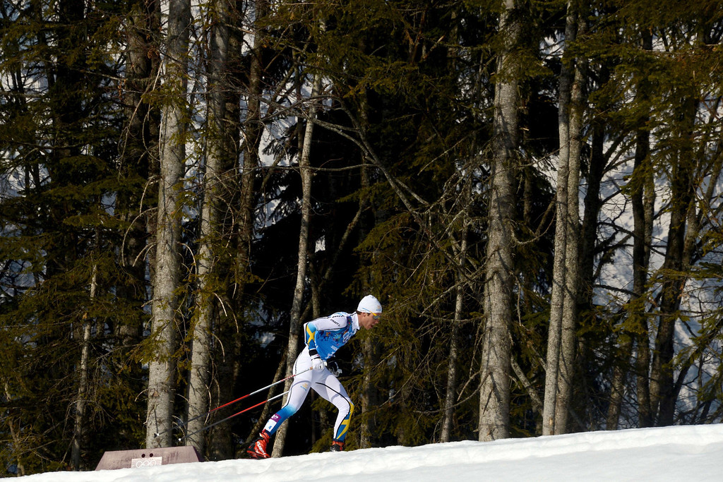 . Sweden\'s Marcus Hellner competes in the Men\'s Cross-Country Skiing 4 x 10km Relay at the Laura Cross-Country Ski and Biathlon Center during the Sochi Winter Olympics on February 16, 2014 in Rosa Khutor near Sochi. KIRILL KUDRYAVTSEV/AFP/Getty Images
