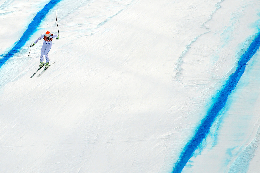 . SOCHI, RUSSIA - FEBRUARY 09: United States skier Bode Miller makes his final jump during the alpine skiing men\'s downhill final. Sochi 2014 Winter Olympics at the Rosa Khutor Alpine Resort on Sunday, February 9, 2014. (Photo by AAron Ontiveroz/The Denver Post)