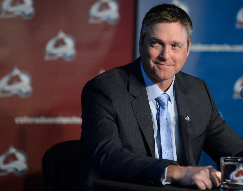 . The Colorado Avalanche introduced Patrick Roy as their new head coach/vice president of hockey operations May 28, 2013 at Pepsi Center.  (Photo By John Leyba/The Denver Post)