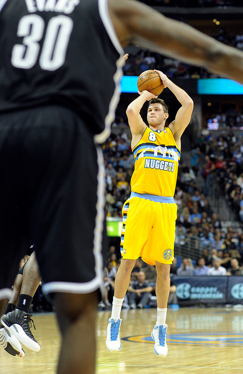 . DENVER, CO. - MARCH 29: Danilo Gallinari (8) of the Denver Nuggets pulled up for a jump shot in the first half. The Denver Nuggets hosted the Brooklyn Nets Friday night, March 29, 2013 at the Pepsi Center in Denver.  (Photo By Karl Gehring/The Denver Post)