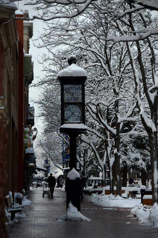 . BOULDER, CO. - APRIL 23: Pearl Street on a snowy day in Boulder April 23, 2013 Boulder, Colorado. (Photo By Joe Amon/The Denver Post)