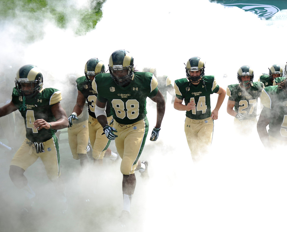 . FORT COLLINS, CO. - SEPTEMBER 14: The Rams took the field for the team\'s first home game of the season. The Colorado State University football team hosted Cal Poly at Hughes Stadium in Fort Collins Saturday afternoon, September 14, 2013.  Photo By Karl Gehring/The Denver Post