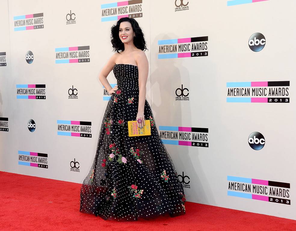 . Singer Katy Perry attends the 2013 American Music Awards at Nokia Theatre L.A. Live on November 24, 2013 in Los Angeles, California.  (Photo by Jason Merritt/Getty Images)