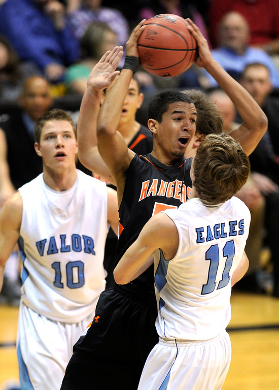 . BOULDER, CO. - MARCH 16: Rangers forward Jordan Scott (5) worked in traffic in the first half. Lewis Palmer-High School boy\'s basketball team met Valor Christian in the 4A championship game Saturday, March 16, 2013 at the Coors Events Center in Boulder.  (Photo By Karl Gehring/The Denver Post)