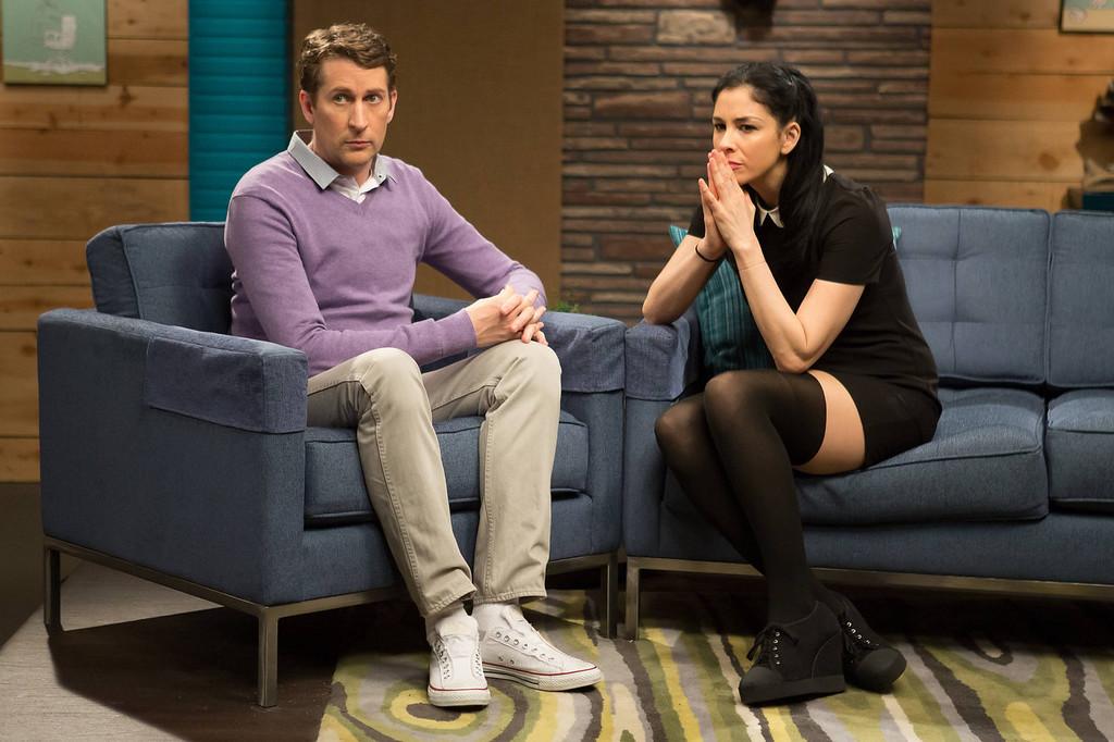 ". Scott Aukerman and Sarah Silvermanin in IFC\'s \""Comedy Bang! Bang!\""  (Photo by Chris Ragazzo/IFC)"