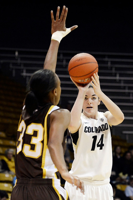 . Colorado\'s Meagan Malcolm-Peck (14) takes a shot over Wyoming\'s Chaundra Sewell (33) during their NCAA college basketball game, Wednesday, Nov. 28, 2012, in Boulder, Colo. (AP Photo/The Daily Camera, Jeremy Papasso)