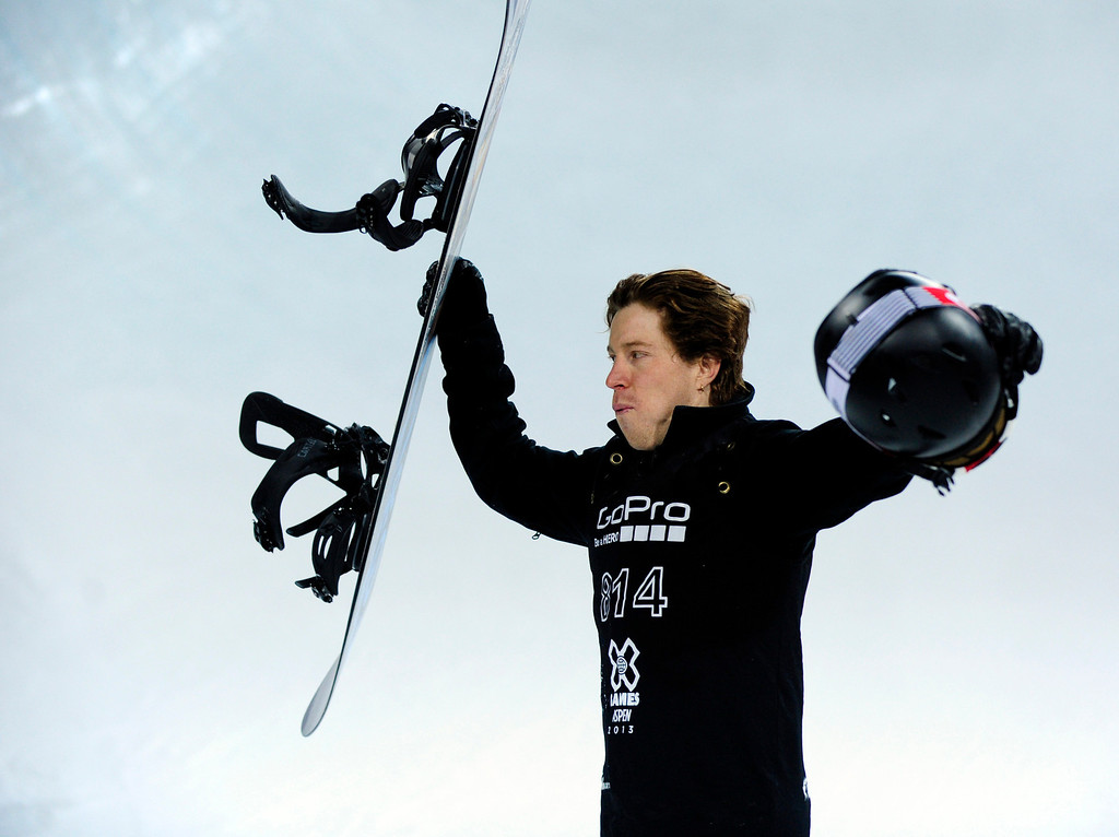 . ASPEN, CO - JANUARY 27: Shaun White celebrates after winning the men\'s superpipe final at Winter X Games Aspen 2013 at Buttermilk Mountain on Jan. 27, 2013, in Aspen, Colorado. (Photo by Daniel Petty/The Denver Post)