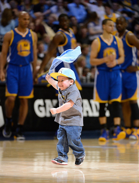 . DENVER, CO. - APRIL 23: Jace Martinez celebrates on the court during halftime of the game. The Denver Nuggets took on the Golden State Warriors in Game 2 of the Western Conference First Round Series at the Pepsi Center in Denver, Colo. on April 23, 2013. (Photo by John Leyba/The Denver Post)
