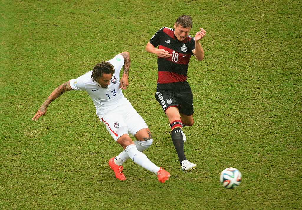 . Jermaine Jones of the United States controls the ball against Toni Kroos of Germany during the 2014 FIFA World Cup Brazil group G match between the United States and Germany at Arena Pernambuco on June 26, 2014 in Recife, Brazil.  (Photo by Laurence Griffiths/Getty Images)