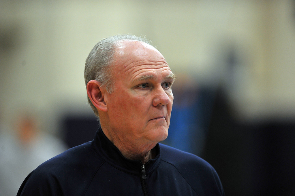 . DENVER, CO. - APRIL 18 : Head coach George Karl of Denver Nuggets is in the team practice for the 1st round of playoff game against Golden State Warriors at Pepsi Center. Denver. Denver, Colorado. April 18, 2013. (Photo By Hyoung Chang/The Denver Post)
