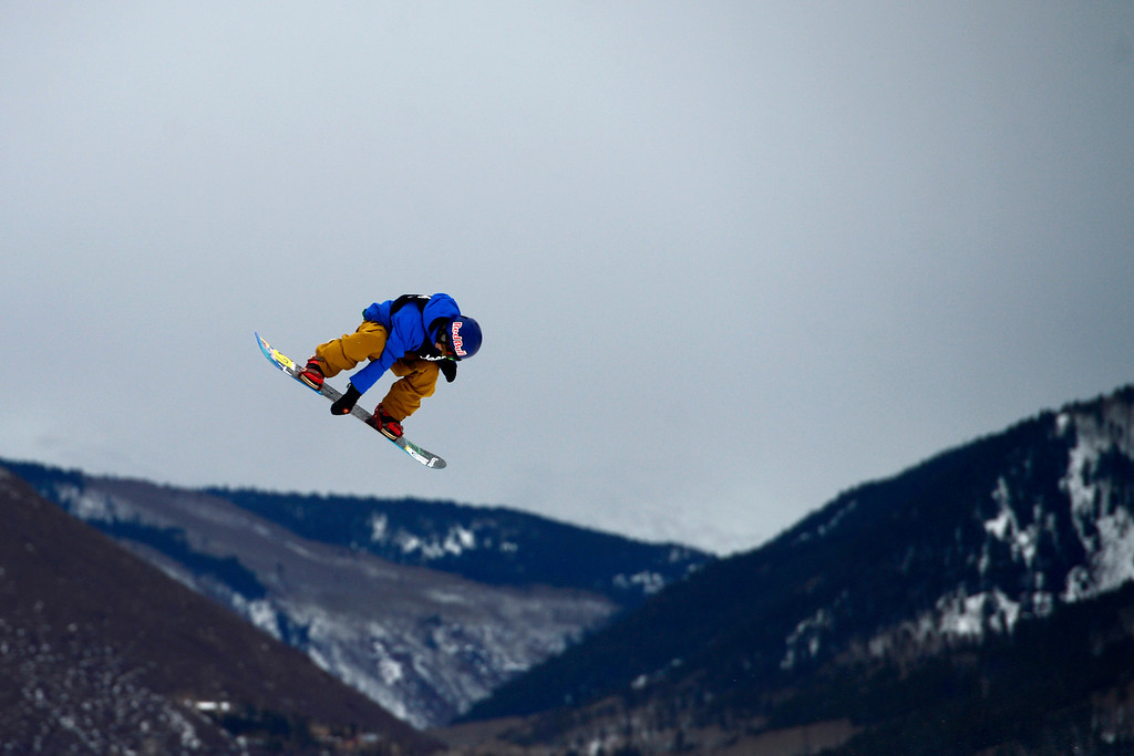 . ASPEN, CO. - JANUARY 24: Roope Tonteri skies during the men\'s Snowboard Slopestyle elimination. Men\'s Snowboard Slopestyle elimination X Games Aspen Buttermilk Mountain Aspen January 24, 2013. (Photo By AAron Ontiveroz / The Denver Post)