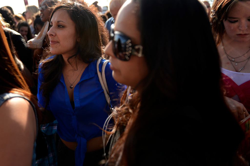 ". Mariah Maldonado (left) of Denver waiting with her step mom Bernadette Maldonado before auditioning on Fox\'s ""X-Factor\"" reality TV singing competition at the Denver Coliseum May 14, 2013 Denver, Colorado. (Photo By Joe Amon/The Denver Post)"