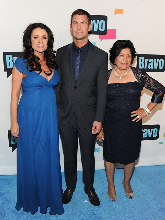 ". ""Flipping Out\"" cast members, from left, Jenni Pulos, Jeff Lewis and Zoila Chavez attend the Bravo Network 2013 Upfront on Wednesday April 3, 2013 in New York. (Photo by Evan Agostini/Invision/AP)"