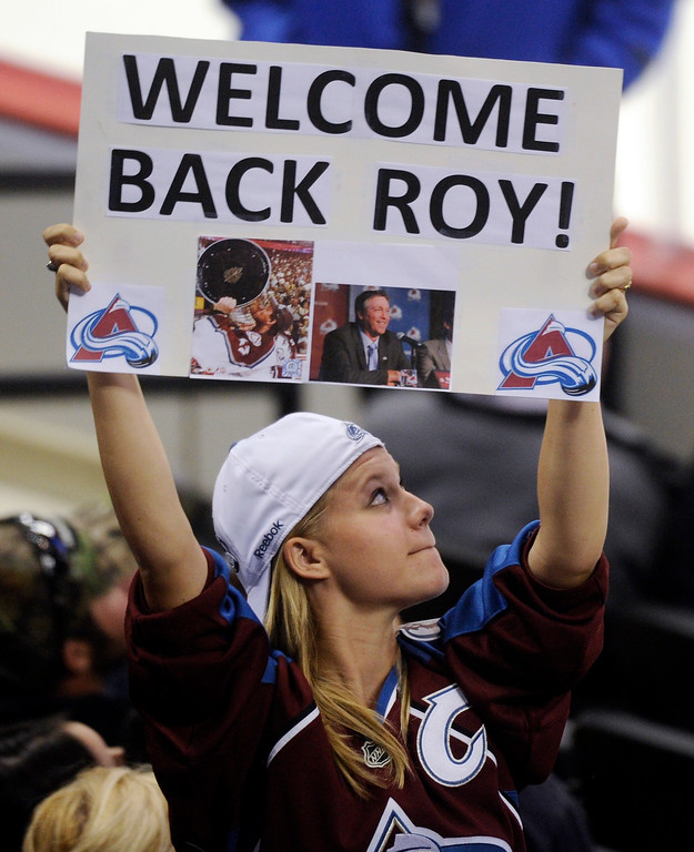 . A fan welcomed Patrick Roy back to Denver as the Avs new coach.  Photo By Karl Gehring/The Denver Post