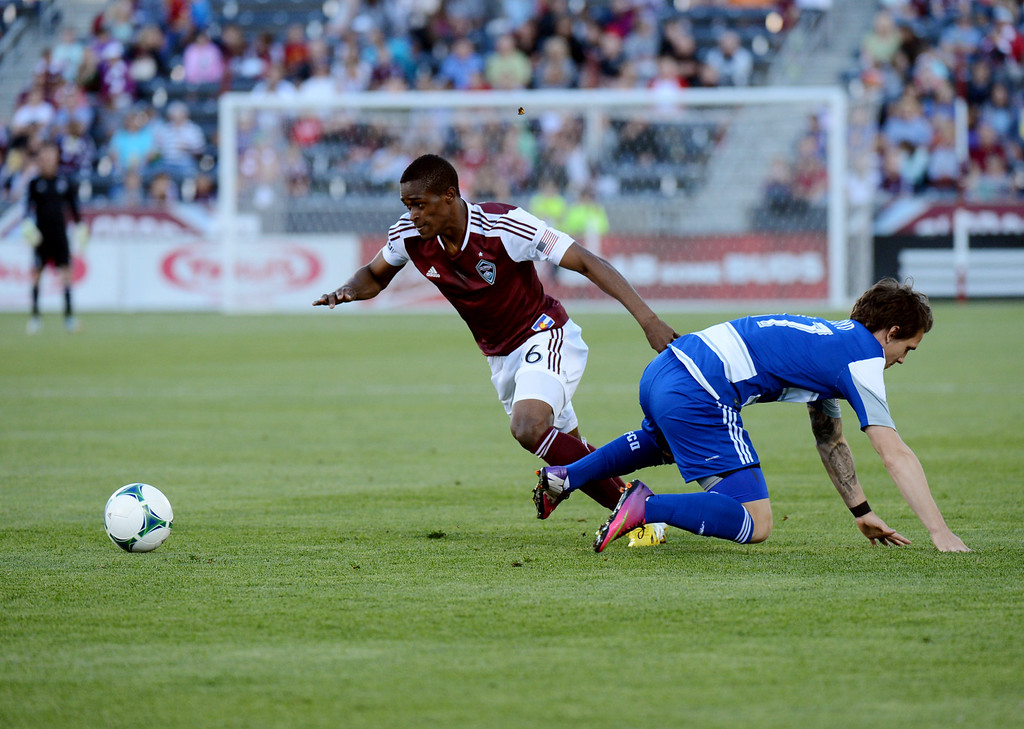 . COMMERCE CITY, CO. - June 01: Deshorn Brown of Colorado Rapids (26) steals the ball from Zach Loyd of FC Dallas (17) in the first half of the game at Dick\'s Sporting Goods Park. Commerce City, Colorado. June 1, 2013. (Photo By Hyoung Chang/The Denver Post)