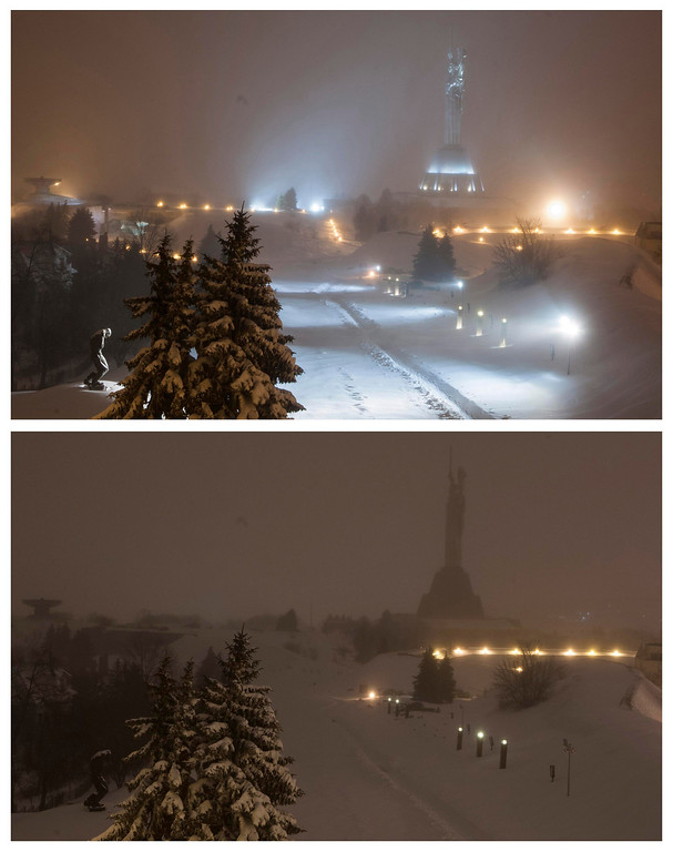 ". A combination photo shows the monument ""Mother Motherland\"" before (top) and during Earth Hour in Kiev March 23, 2013. Earth Hour, when everyone around the world is asked to turn off the lights for an hour from 8.30pm local time, is meant as a show of support for tougher actions to combat climate change.    REUTERS/Sergii Polezhaka"