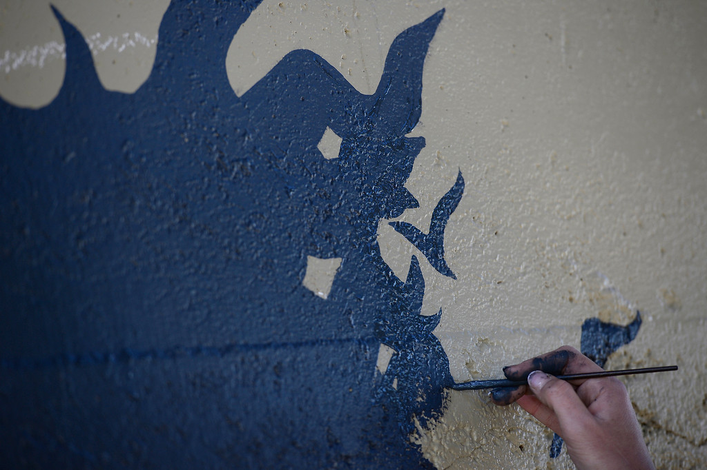 . Castle Rock is turning to murals as a way to discourage graffiti. Murals are being pained at 12 underpasses throughout the town. (Photo by John Leyba/The Denver Post)