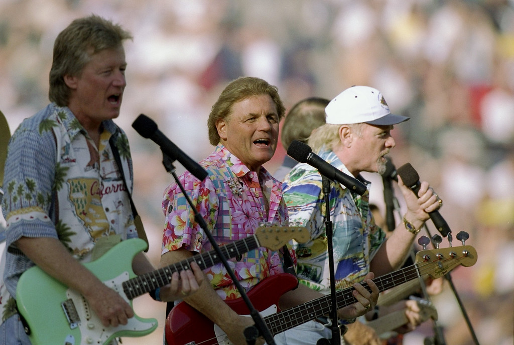 . The Beach Boys perform during the pre-game celebrations of Super Bowl  XXXII at Qualcomm Stadium in San Diego, California.  The Denver Broncos defeated the Green Bay Packers 31-24.  (Rick Stewart /Allsport)