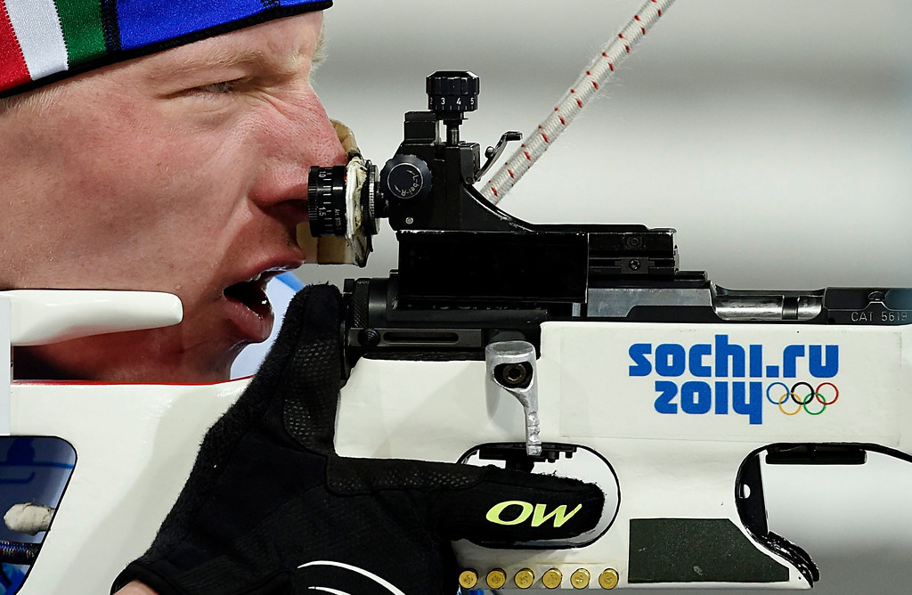 . Lukas Hoffer of Italy in action during the Mixed Relay competition at the Laura Cross Biathlon Center during the Sochi 2014 Olympic Games, Krasnaya Polyana, Russia, 19 February 2014.  EPA/VALDRIN XHEMAJ