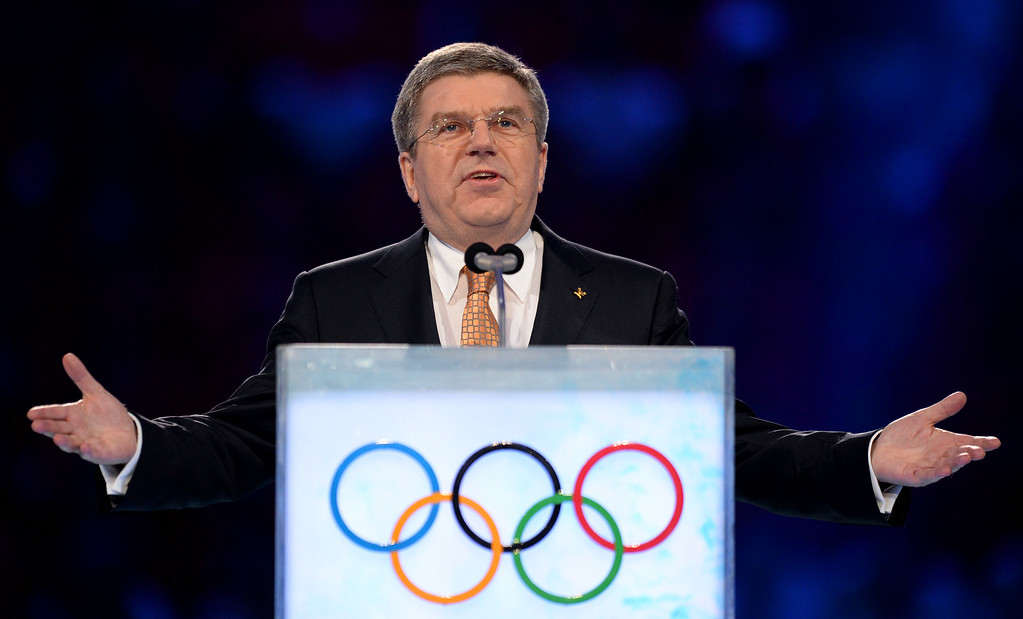 . International Olympic Committee (IOC) President Thomas Bach speaks during the opening ceremony of the Sochi 2014 Winter Olympics at the Fisht Olympic Stadium on February 7, 2014, in Sochi, Russia. (Photo by Jung Yeon-Je - Pool/Getty Images)