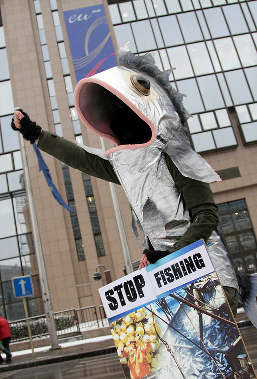 . A protestor wears a giant fish costume and holds a placard during a demonstration outside an EU agriculture ministers meeting in Brussels on Tuesday, Nov. 30, 2010. Protestors demonstrated on Tuesday against what they believe is the over-fishing of the world seas. (AP Photo/Virginia Mayo)