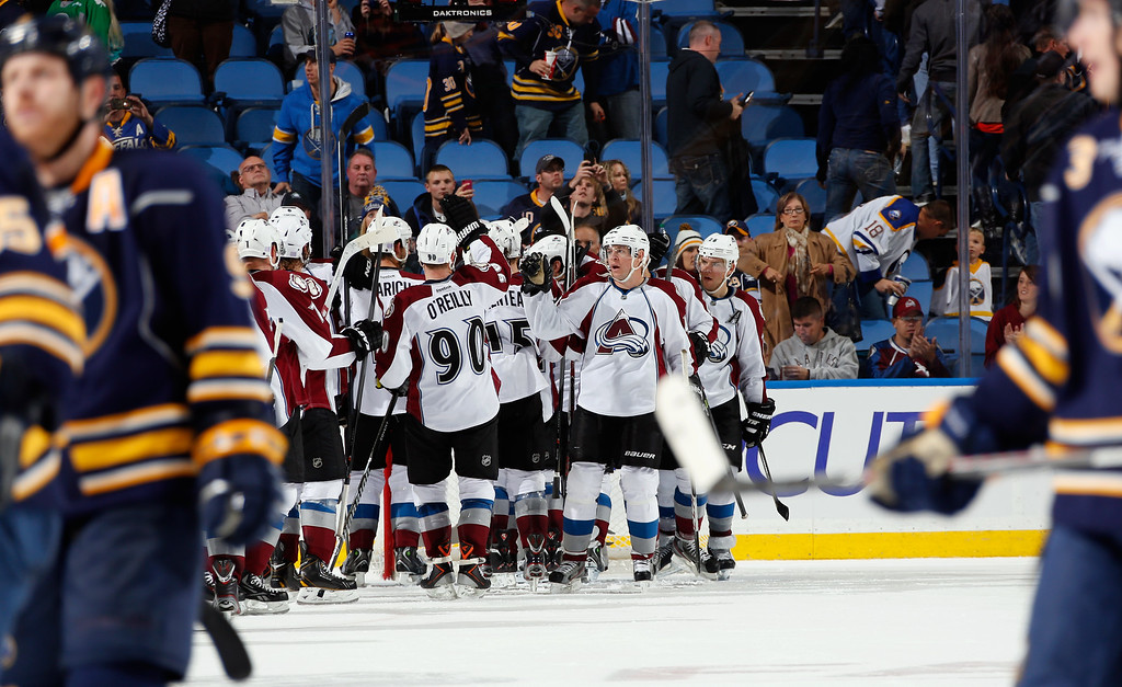 . BUFFALO, NY - OCTOBER 19: The Colorado Avalanche celebrate their 4-2 victory over the Buffalo Sabres at First Niagara Center on October 19, 2013 in Buffalo, New York. (Photo by Jen Fuller/Getty Images)