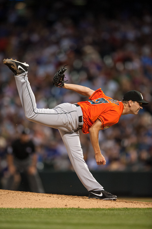 . DENVER, CO - JULY 24:  Jacob Turner #33 of the Miami Marlins pitches against the Colorado Rockies during a game at Coors Field on July 24, 2013 in Denver, Colorado. (Photo by Dustin Bradford/Getty Images)