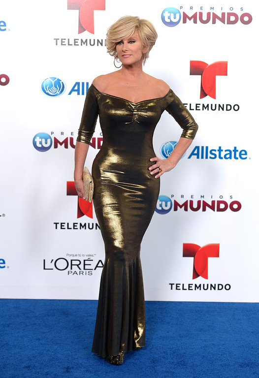 . MIAMI, FL - AUGUST 15:  Christian Bach arrives for Telemundo\'s Premios Tu Mundo Awards at American Airlines Arena on August 15, 2013 in Miami, Florida.  (Photo by Gustavo Caballero/Getty Images)