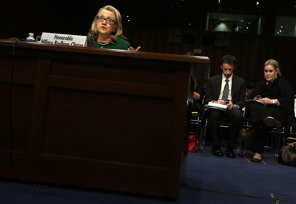 . WASHINGTON, DC - JANUARY 23:  U.S. Secretary of State Hillary Clinton testifies before the Senate Foreign Relations Committee on Capitol Hill January 23, 2013 in Washington, DC. Lawmakers questioned Clinton about the security failures during the September 11 attacks against the U.S. mission in Benghazi, Libya, that led to the death of four Americans, including U.S. Ambassador Christopher Stevens. (Photo by Alex Wong/Getty Images)