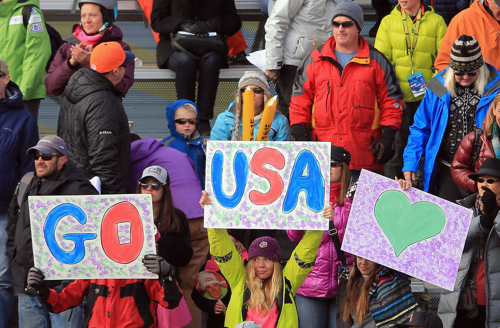 . Fans support the US Ski Team athletes during the ladies\' giant slalom at the Audi FIS Ski World Cup at Beaver Creek on December 1, 2013 in Beaver Creek, Colorado.  (Photo by Doug Pensinger/Getty Images)