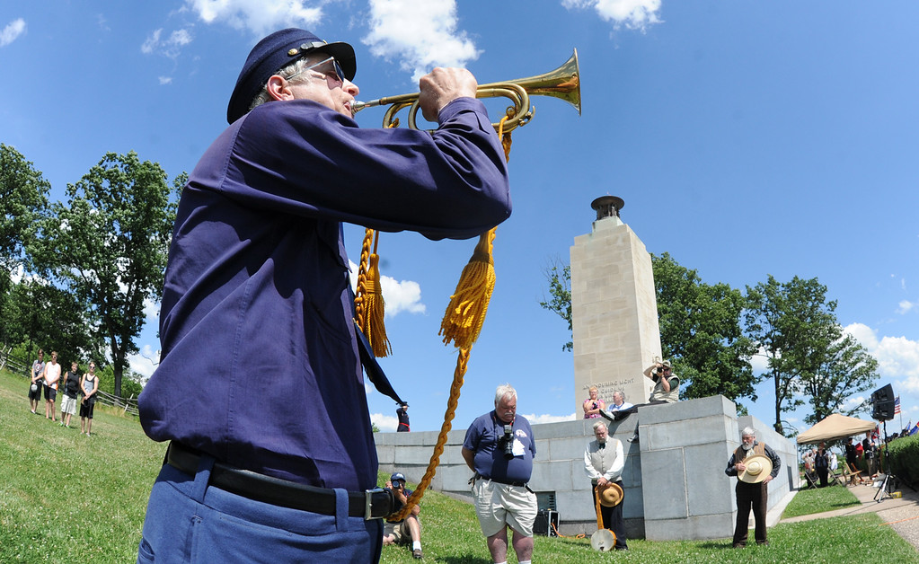 . Ivan Frantz was on hand to play taps at the Eternal Light Peace Memorial anniversary on Saturday, June 29, 2013.  YORK DAILY RECORD/SUNDAY NEWS--JASON PLOTKIN
